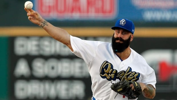 Brian Wilson makes his Los Angeles Dodgers organization debut in a baseball game for the A-level Rancho Cucamonga Quakes on Aug. 7, 2013, in Rancho Cucamonga, Calif.