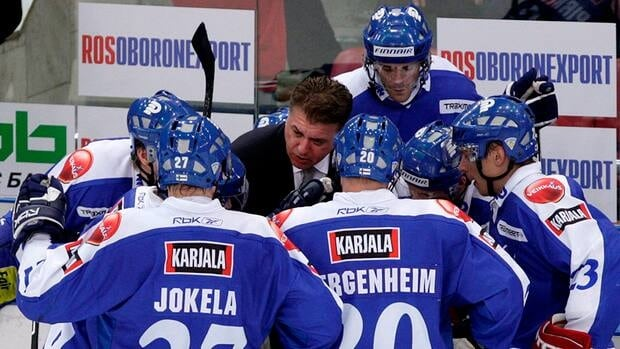 Doug Shedden has been named coach of Canada's Spengler Cup team. The former NHLer was head coach of Finland's national team in 2007-08, as seen in this photo. Shedden guided the squad to a bronze medal at the 2008 IIHF world championship.
