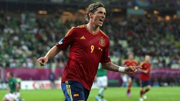 Fernando Torres of Spain celebrates scoring their thrid goal in their group C match agaisnt Ireland on Thursday.