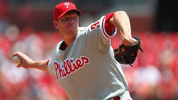 Starter Roy Halladay of the Philadelphia Phillies pitches against the St. Louis Cardinals.