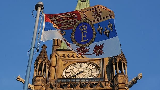 The Queen's Canadian flag flies on Parliament Hill earlier this year to mark her diamond jubilee. MPs from all parties except the Bloc Quebecois paid tribute in the Commons Monday to congratulate the Queen on her 60th anniversary.
