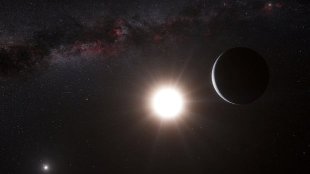 This artist's impression made available by the European Southern Observatory on Tuesday shows a planet, right, orbiting the star Alpha Centauri B, centre, a member of the triple star system that is the closest to Earth. Alpha Centauri A is at left. The Earth's Sun is visible at upper right.