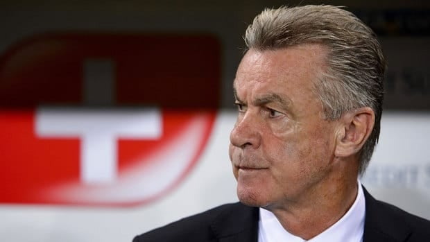 In this Sept. 2012 file photo, Switzerland coach Ottmar Hitzfeld looks on prior to a World Cup qualifying match against Albania.