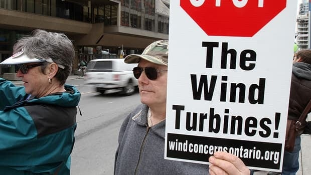 Several hundred people from across Ontario and the eastern U.S. hold a rally in Toronto in April against wind turbine expansion in the province, citing rising energy costs and health risks. Health Canada now says it will investigate complaints against wind turbines.