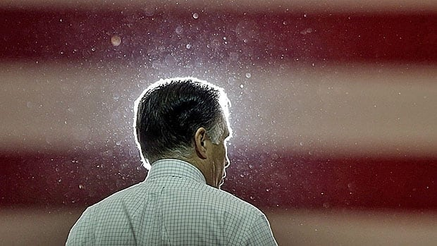 A campaign drenched Mitt Romney, at a stop in Cleveland on Sunday.
