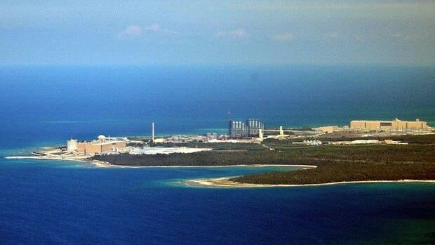An aerial view of the Bruce Power nuclear generating station in Kincardine, Ont.