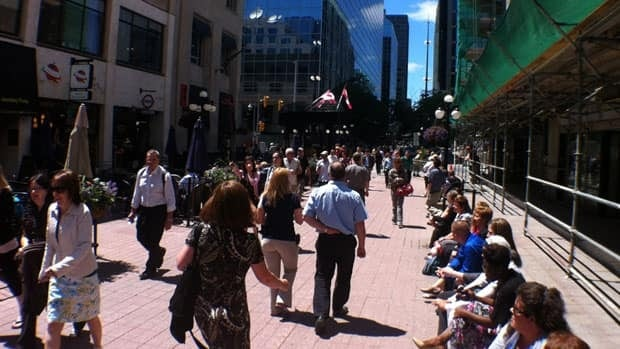 Sparks Street is busy on weekdays when the weather is nice, but tends to be a ghost town after 5 p.m.