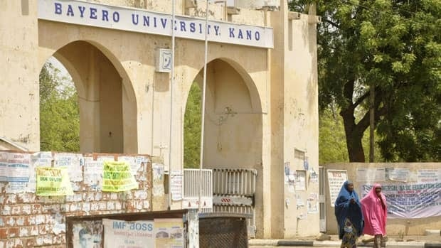 A view of the old gate of Bayero University in Kano, where 16 people were killed in an attack on a Catholic mass Sunday.