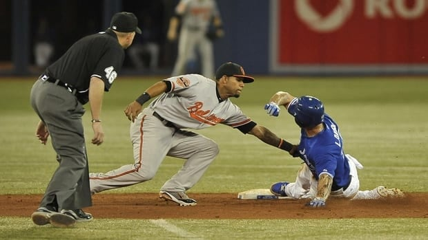 Brett Lawrie, right, of the Toronto Blue Jays is tagged out stealing second by Robert Andino of the Baltimore Orioles on Saturday.