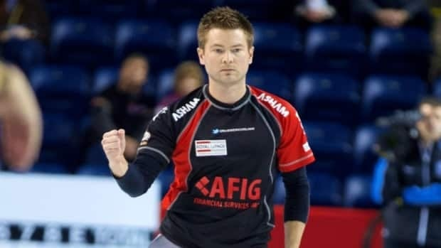 Mike McEwen reacts to a shot during the Canadian Open of Curling on Friday, Dec. 14th in Kelowna, B.C. McEwen finished round robin play with a 4-1 record.