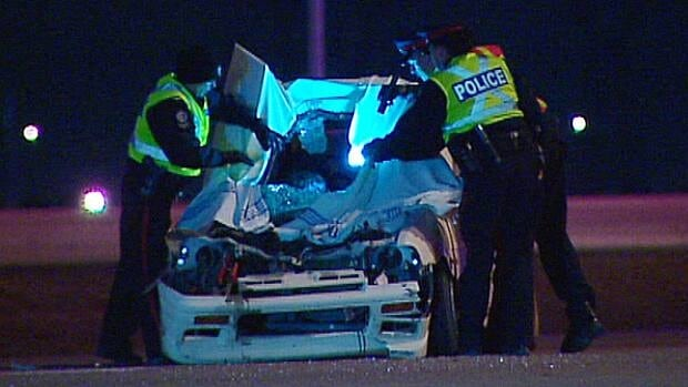 Edmonton police investigate a rollover on Anthony Henday Drive at 91st Street Thursday morning.