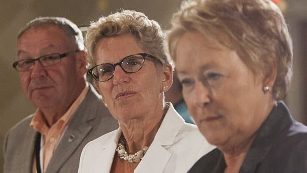 Nova Scotia Premier Darrell Dexter, left, Ontario Premier Kathleen Wynne, centre, and Quebec Premier Pauline Marois attended a meeting with aboriginal leaders on Wednesday ahead of the premiers gathering in Niagara-on-the-Lake, Ont.