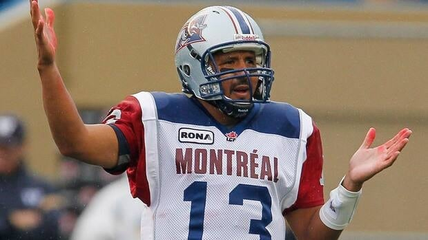 Montreal Alouettes quarterback Anthony Calvillo during a game against the Winnipeg Blue Bombers in Winnipeg, Friday, August 3, 2012.