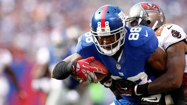 Wide receiver Hakeem Nicks, with ball, has missed the Giants' last two games.