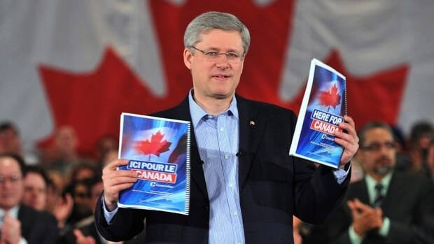Leader Stephen Harper unveils the Conservative party platform during a campaign event in Mississauga, Ont., last April. Harper's Conservatives won their first majority mandate on May 2.