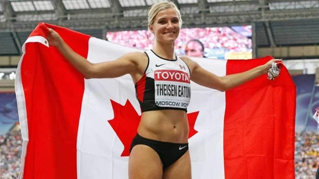 Canada's Brianne Theisen-Eaton celebrates after winning silver in the heptathlon at the world athletics championships in the Luzhniki stadium in Moscow, Russia on Tuesday.