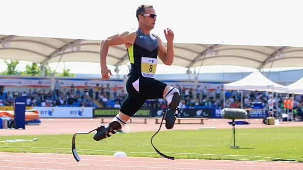 Oscar Pistorius of South Africa on his way to victory in the men's T42/43/44 200m during day one of the BT Paralympic World Cup.