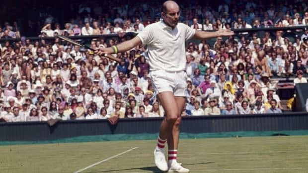 Bob Hewitt, here at Wimbledon in 1975, won 15 Grand Slam titles in doubles and mixed doubles.