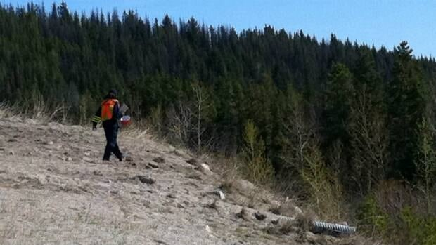The coroner hikes down an embankment to the plane crash site, about 100 metres from Highway 97C. On Monday, officials began extracting the bodies of the three people who died in the crash Sunday evening.