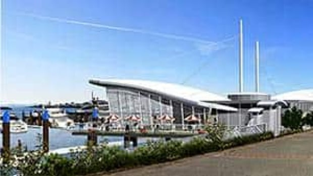 The original plan for the marina included two one-storey buildings on either side of a 52-slip marina. (Victoria International Marina)