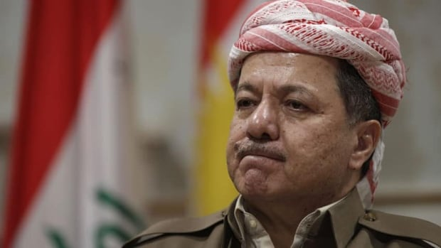 Kurdish president Massoud Barzani reacts during an interview with the Associated Press in Salah al-Din resort, Irbil north of Baghdad, Iraq, on April 25, 2012.
