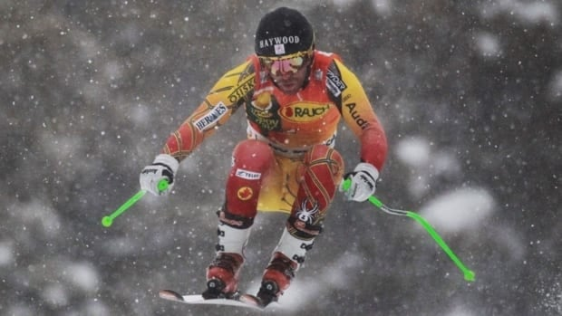 Canada's Robbie Dixon, seen here competing in Lake Louise, Alta. on November 27, 2011, broke his fibula and tibula during an International Ski Federation race in Colorado on Thursday.