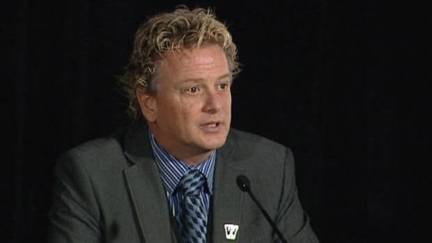 Garth Buchko addresses the media Thursday after being introduced as the Blue Bombers' new president and CEO.