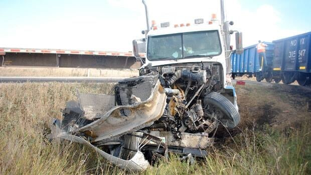 The driver of this truck was able to walk away from a crash with a train, south of Estevan.