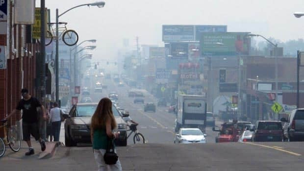 A smoky haze from California's Rim Fire hangs over Virginia Street in Reno, Nev.
