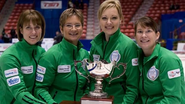 Team Lawton with (left to right) skip Stefanie Lawton, third Sherry Anderson, second Sherri Singler, and lead Marliese Kasner hold the trophy after winning Sunday's championship.