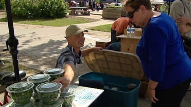 Travis Kennedy sells his salad greens at the weekly 124th Street Grand Market, just a few blocks from his Westmount home.
