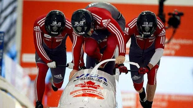 In this photo, Lyndon Rush, centre, from Humboldt, Sask., and teammates, Jesse Lumsden, Cody Sorensen, and Neville Wright start their run down the track during the four-man World Cup bobsled event in Calgary earlier this year.