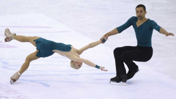 Aliona Savchenko, left, and Robin Szolkowy perform their free program in Nice, France.