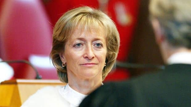 Justice Marie Deschamps, shown at the ceremony where she was sworn in as a Supreme Court justice in 2002, will retire in August, it was announced Friday.