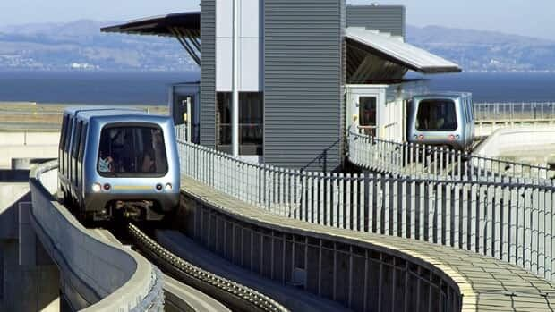 Bombardier's rail vehicles are shown at San Francisco Airport.  Analysts had been expecting $4.6 billion of revenue but it appears the company will make up lost ground later in the year.