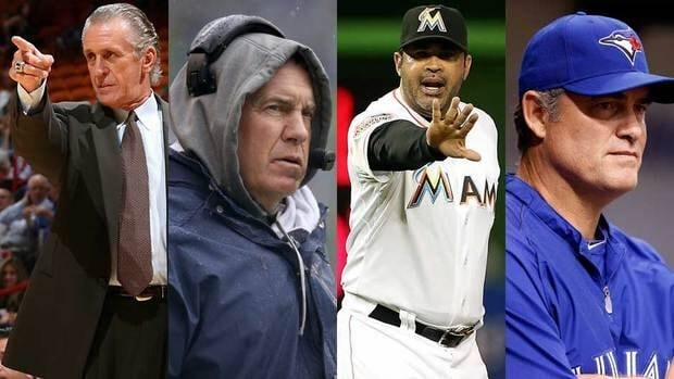 John Farrell, far right, joined exclusive company when he was traded from the Blue Jays to the Red Sox. Among other coaches/managers traded, from left to right, Pat Riley, Bill Belichick and Ozzie Guillen.