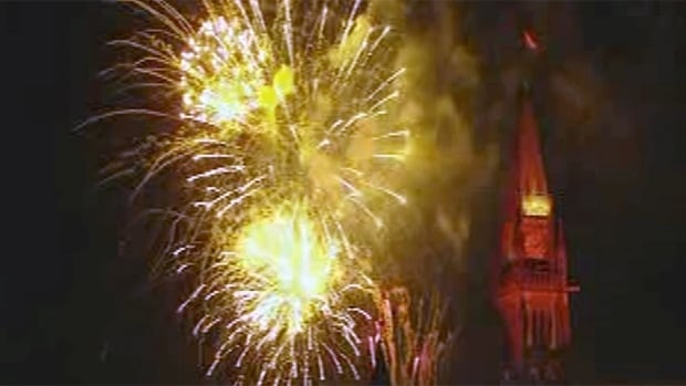 A fireworks display over Parliament Hill dazzles spectators partaking in Canada Day festivities in Ottawa.