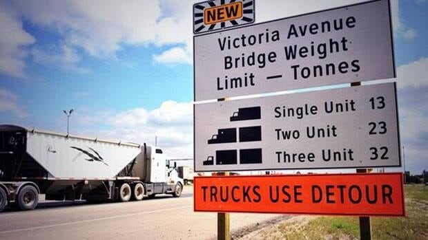 Trucks will have to take a detour because of concerns about the strength of an old bridge on Victoria Avenue East.