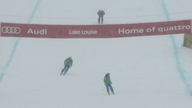 Visibility was not good as officials inspected the Lake Louise downhill course on Friday.