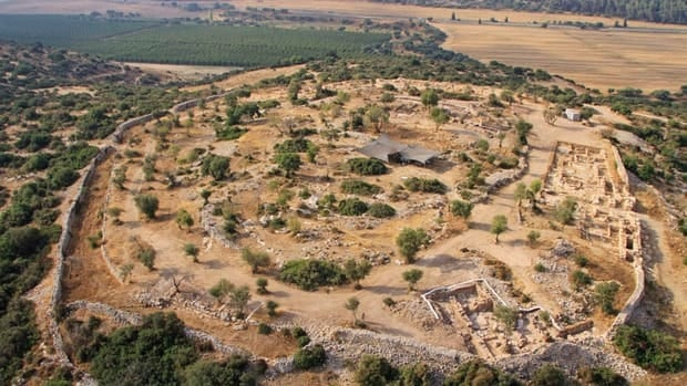 An aerial photo shows the archeological site in Khirbet Qeiyafa, west of Jerusalem. A team of Israeli archaeologists say they have discovered a palace used by King David at the site.