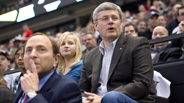 Prime Minister Stephen Harper and NHL commissioner Gary Bettman are seen at the league's all-star game in January in Ottawa.