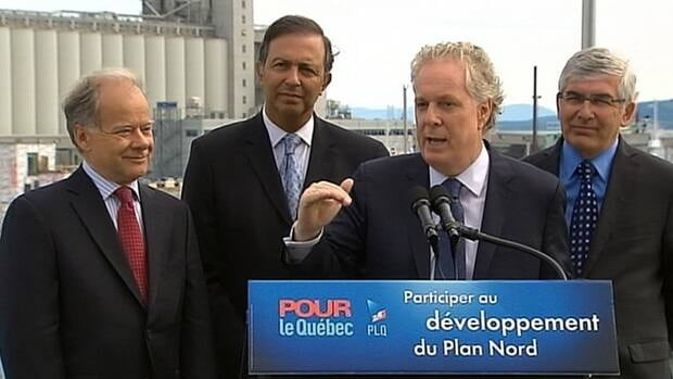 Jean Charest reacted to the Radio-Canada investigation during a campaign stop to announce more development in Plan Nord.