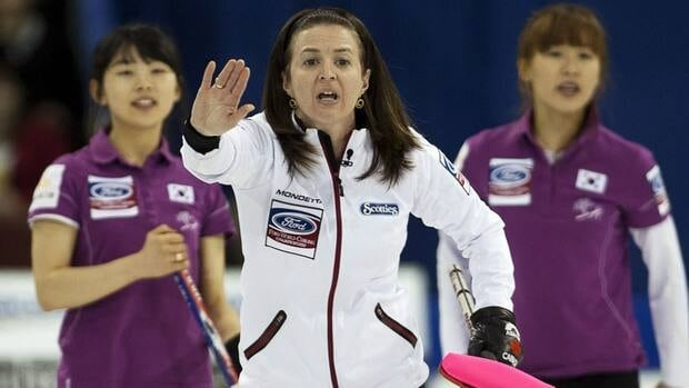 Canada's skip Heather Nedohin reacts to a shot against Korea in playoff action on Saturday at the women's curling worlds.