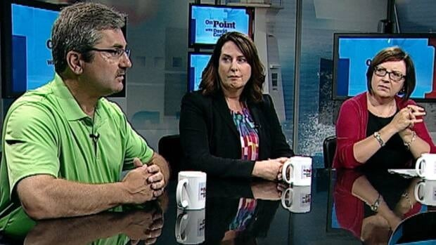 Former natural resources minister Shawn Skinner said the Muskrat Falls project could cost $8.5 billion on this week's episode of On Point. Former MP Siobhan Coady and Labour leader Lana Payne look on.