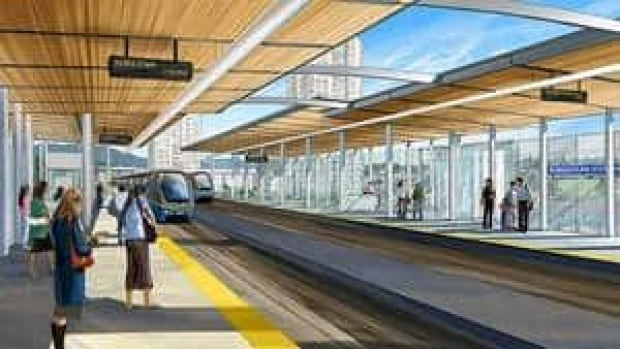 An artist's sketch shows the proposed design for the Burquitlam Station of the Evergreen Line.