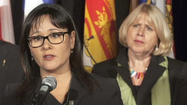 Health Minister Leona Aglukkaq, left, says federal laws don't allow regulators to ban a drug simply because some people abuse. Ontario Health Minister Deb Matthews, right, says she'll bring in rules regardless to restrict access to versions of the painkiller OxyContin.