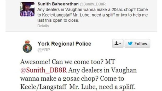 An employee at a Mr. Lube shop who tweeted his need for weed while apparently at work got a cheeky rejoinder from police.