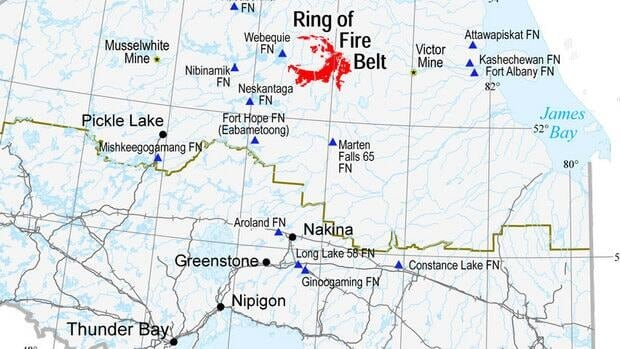 The Ring of Fire is a mineral-rich area in the James Bay lowlands, about 575 kilometres northeast of Thunder Bay, Ont.
