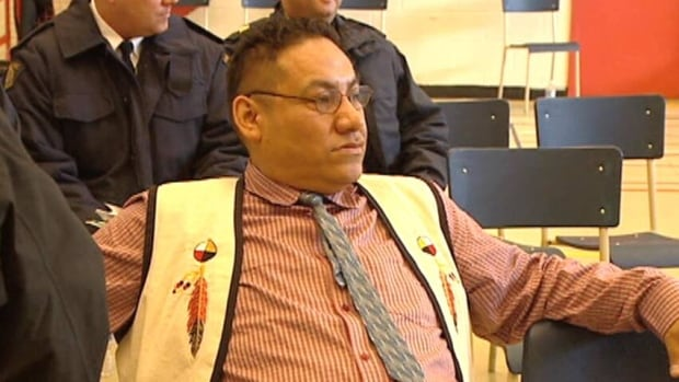 Simeon Tshakapesh, seen during a 2010 meeting, has been re-elected as chief of the Innu community of Natuashish.