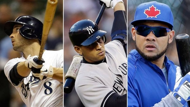 From left, Milwaukee outfielder Ryan Braun, New York Yankees third baseman Alex Rodriguez and Toronto Blue Jays outfielder Melky Cabrera reportedly could be suspended for their alleged connection with a Miami-area clinic at the centre of a continuing performance-enhancing drug scandal.